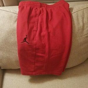 Jordan red sweat shorts large